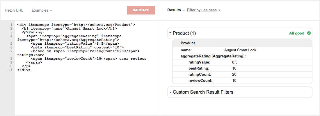 Google Developers Structured Data Testing Tool