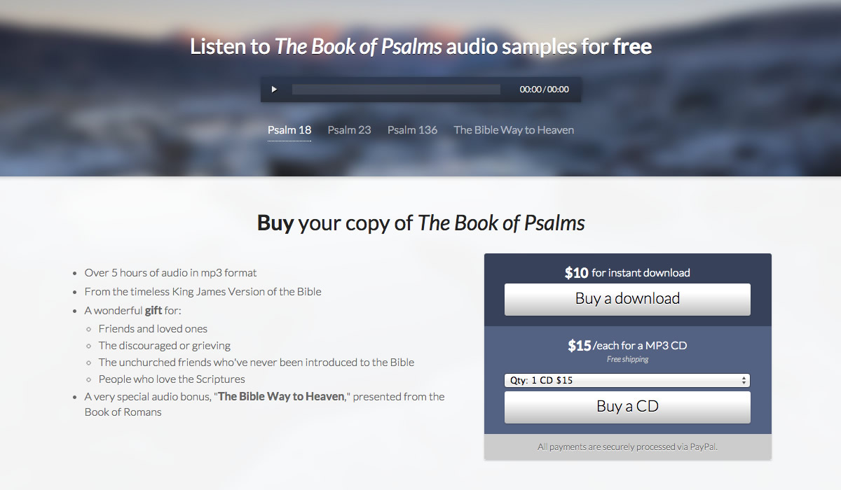 HTML5 audio player, PayPal shopping cart